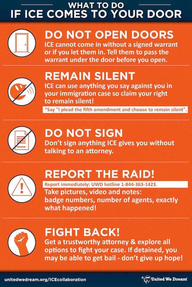 Instructions sur ce qu'il faut faire si ICE vient à votre porte