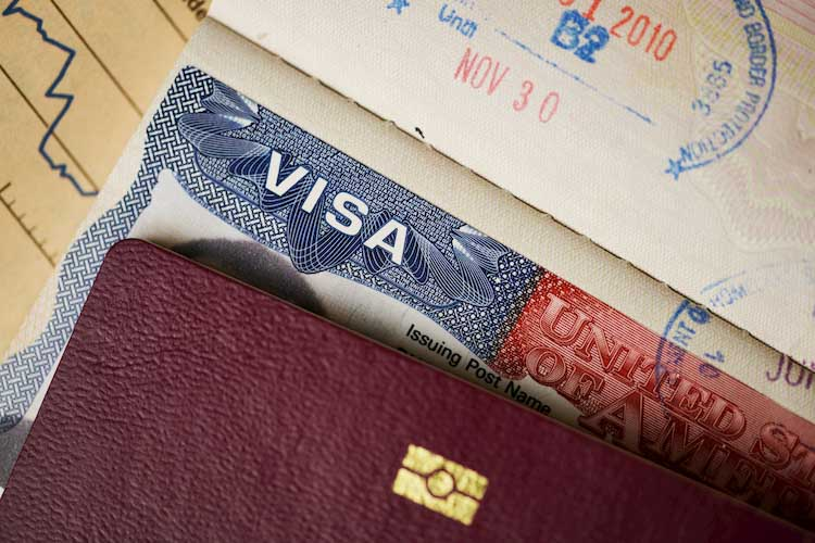 Closeup of a US visa