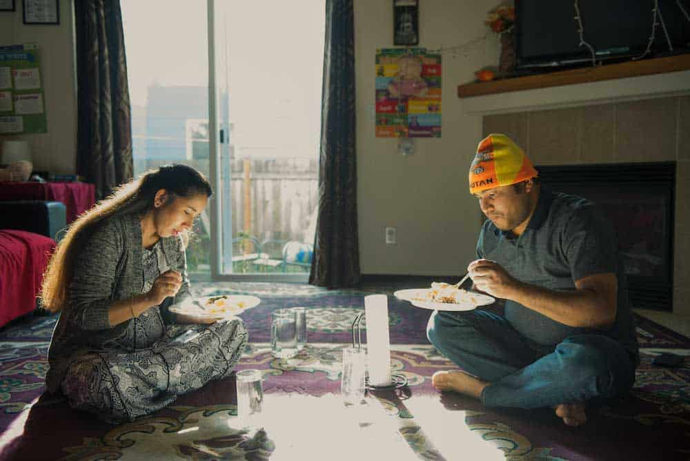 couple eating together at home