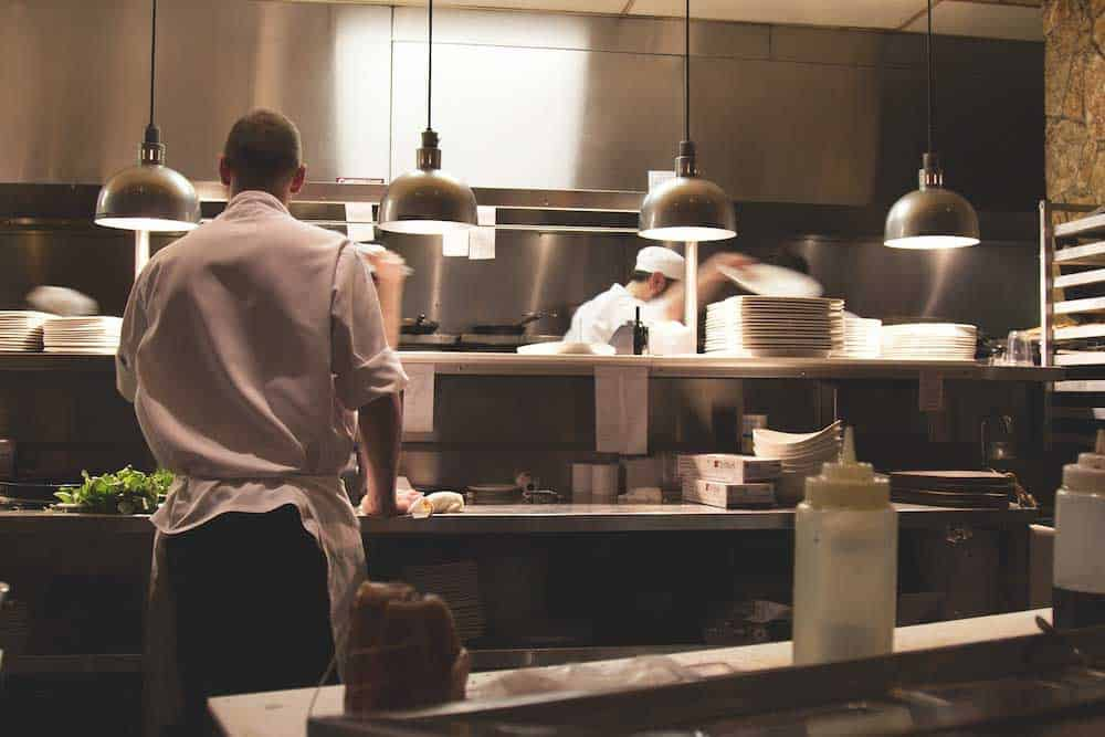 food service workers in kitchen
