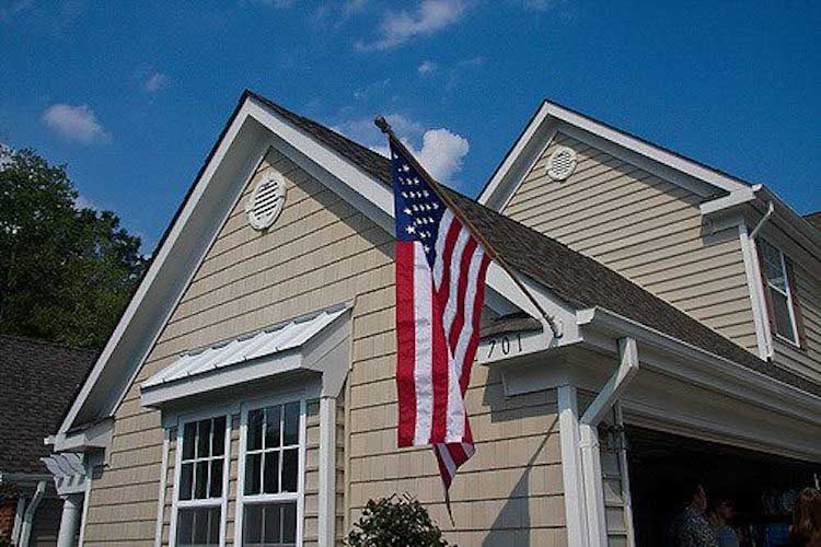 house with american flag outside