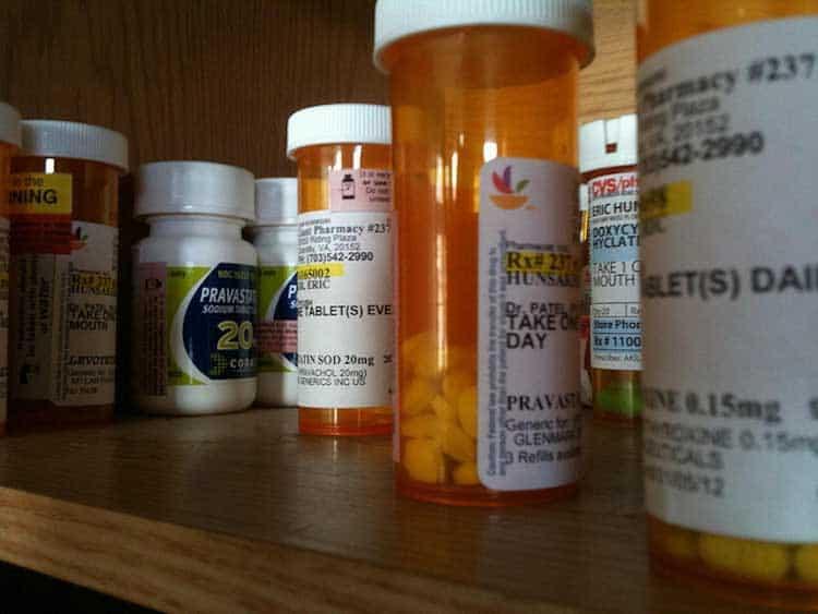 closeup of medical prescription bottles