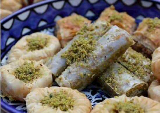 plate of baklava from Aleppo Sweets