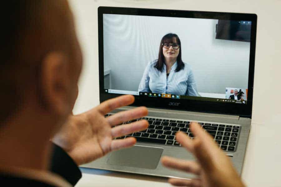 remote workers in a video meeting