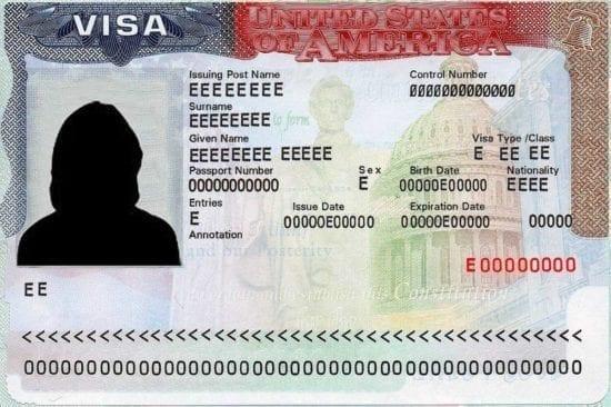 spécimen de visa américain