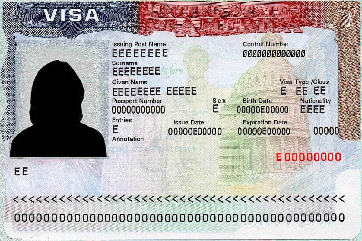 美国签证样本
