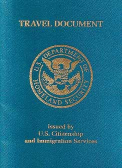 US travel document for non-citizens