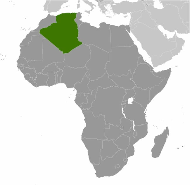Map of Africa showing Algeria