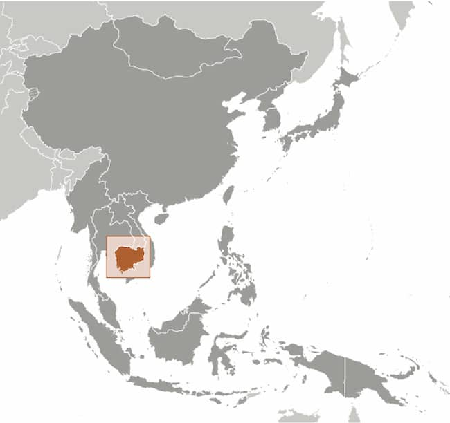 Map of Asia showing Cambodia