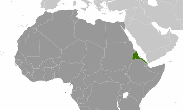 Map of Africa showing Eritrea