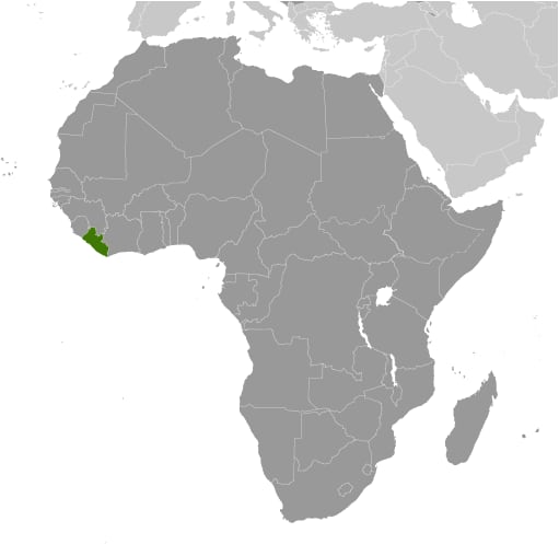 Map showing Liberia