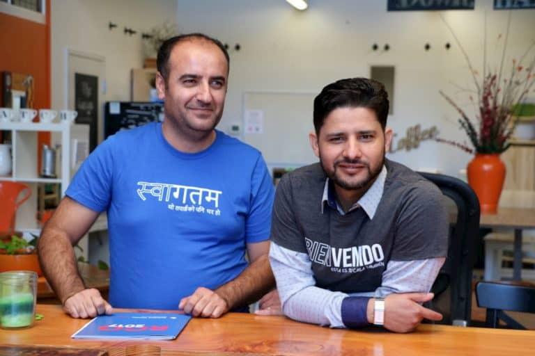 Naser Yahya and Tej Mishra of USAHello board