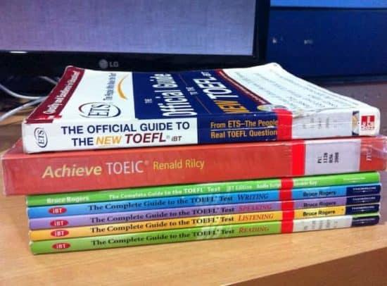 stack of TOEFL books