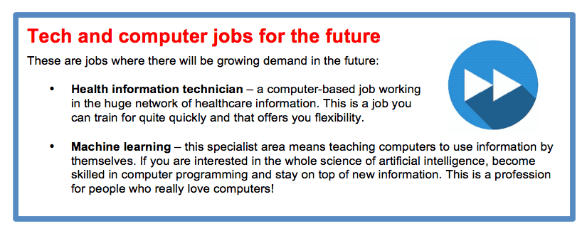 gráfico de trabajos tecnológicos para el futuro