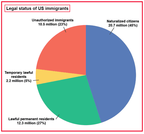 chart showing legal status of US immigrants