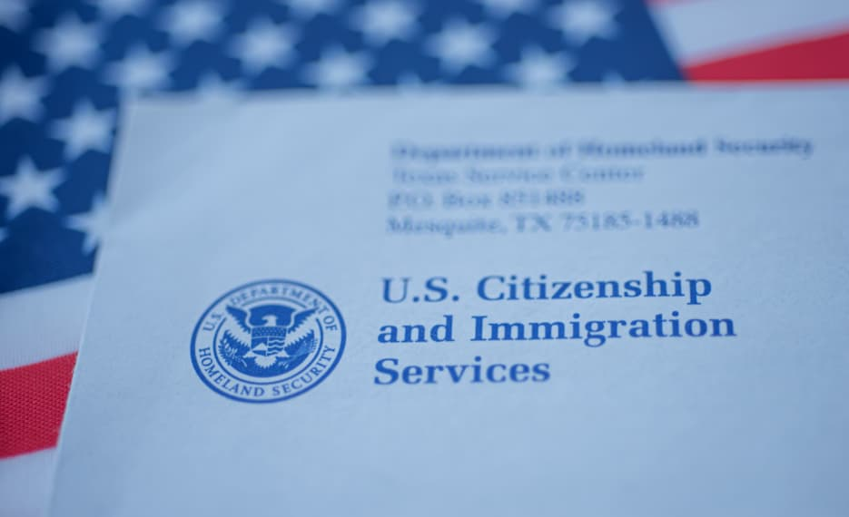 USCIS envelope with American flag