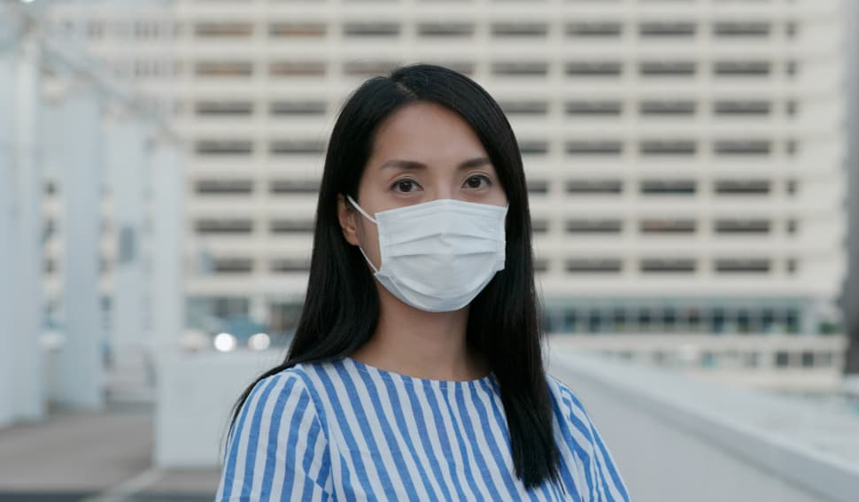 Asian woman with face mask