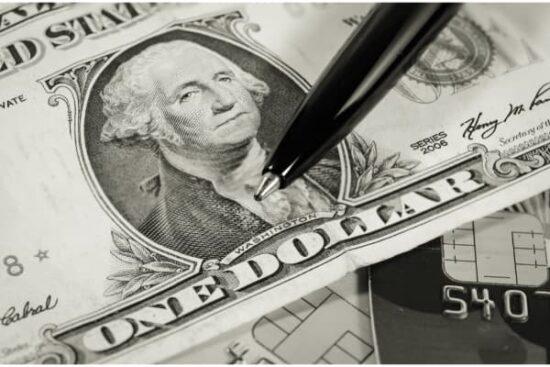 One dollar bill w pen